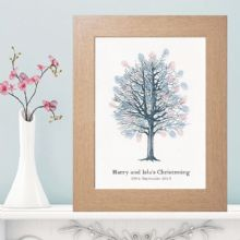 Sketched Personalised Fingerprint Tree Suitable For Any Occasion - Personalised With Own Text - Available With a Choice of Inkpad Colours